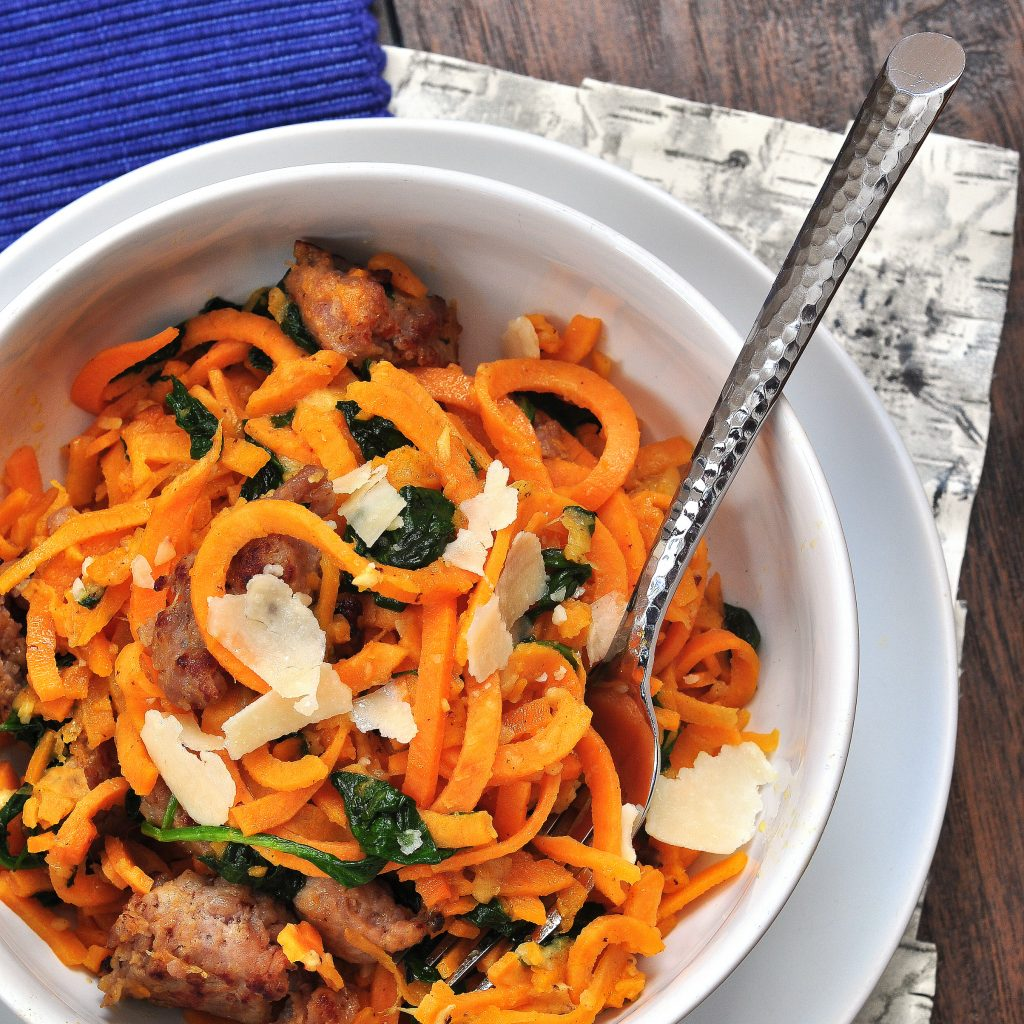 sweet potato noodles with sausage and baby spinach