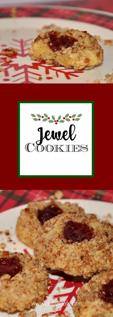 A rich, buttery cookie rolled in crushed pecans with a thumbprint of bright raspberry preserves, or your favorite flavor. A lovely, delicious addition to your holiday cookie trays