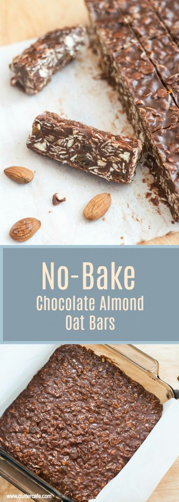 no bake chocolate almond oat bars