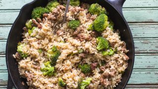 Baked Rice with Sausage and Broccoli