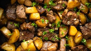 Asian Steak Bites and Potatoes