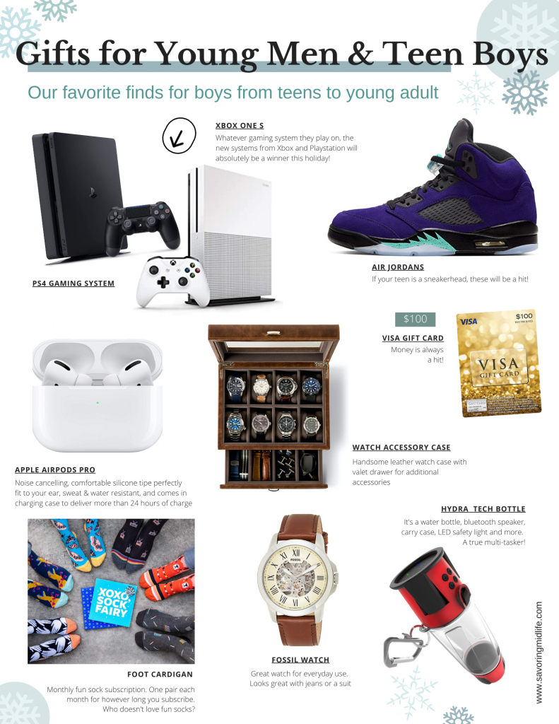 gift guide for young men and teen boys