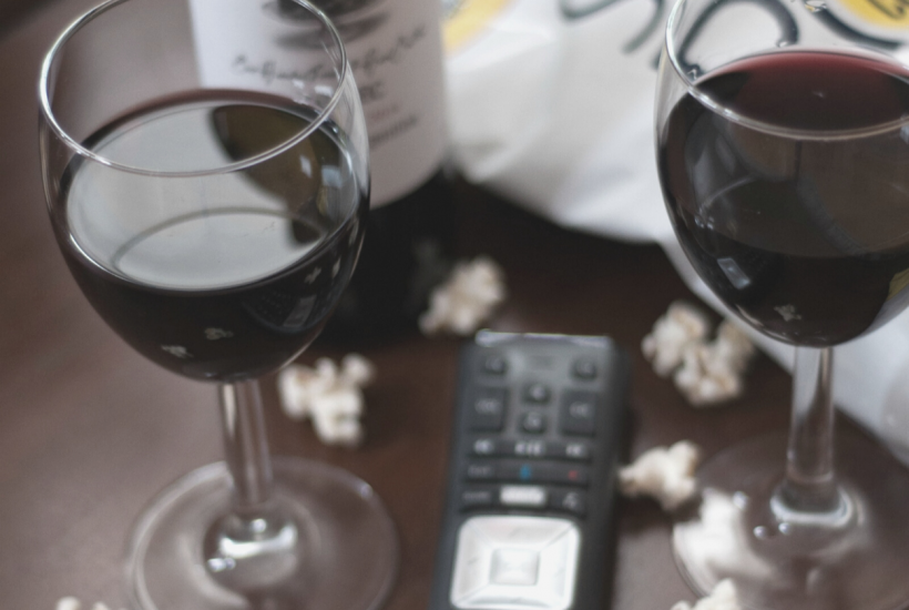 popcorn wine and tv remote