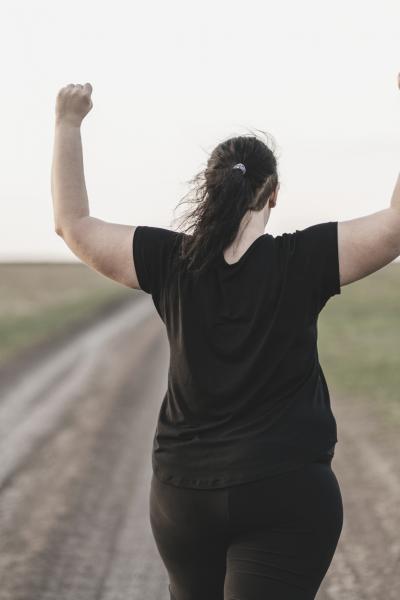 empowered woman walking